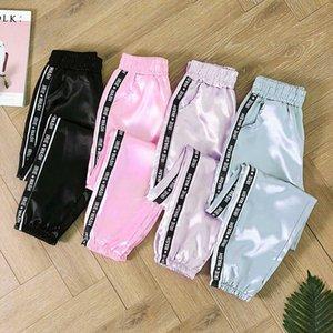 Verão Big bolso cetim Destaque Harem Pants Mulheres fita Esporte Glossy Calças BF Harajuku Corredores das mulheres Sports Calças