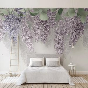 Photo Wallpaper 3D roxo Wisteria Flower Murais Casa Wedding Sala papel de parede Romantic Home Decor Para Paredes Afrescos 3D