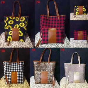 5styles leopar patchwork çanta ile fermuar bileklik çanta ayçiçeği deri sap toplayıcı manda ekose shouler torba 17inch FFA3315 yazdır