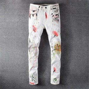 New mens designer jeans Ripped Biker jeans Slim Fit Motorcycle Biker Denim For Men Fashion Designer Hip Hop mens jeans pour hommes fdshlzj