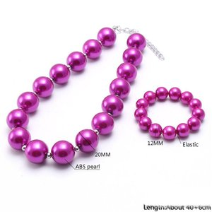 Hot Pink Pearl bébé Kid Chunky collier de perles Set mode nouvelle conception Bubblegum Chunky perles bijoux collier pour les enfants