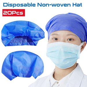 20Pcs Disposable Salon Hair Hat Anti Dust Net Bouffant Cap Non-Woven Head Cover Hat Elastic Cleaning Hair Protect Cap