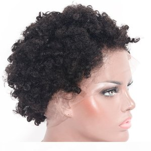 Full Lace Human Hair Wigs Pre Plucked Afro Kinky Curly Brazilian Short Human Hair Wigs Bleached Knots