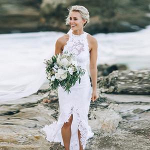 Moda Nuevo Romántico Blanco Alto Bajo Corto Frente Largo Atrás Frontal Hendidura Encaje Vestidos de novia de playa Halter Sirena Por encargo Boho Vestidos de novia