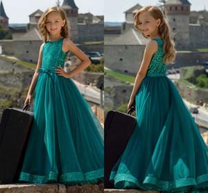Dark Green Pailletten A-Linie Blumenmädchenkleider Günstige Mädchen Formale Brautkleider Elegante Prom Evening Party Geburtstag Pageant Gown In Stock
