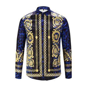 2018 autumn and winter Harajuku Medusa floral print shirt fashion retro long sleeve Medusa shirt men's high quality social business shirt
