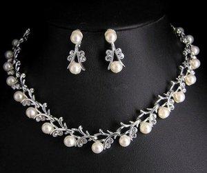 Forme a bajo precio de alta calidad al por mayor 2set / lots diamante cristalino de la boda novia set collar pendientes (16 r