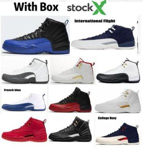 Gratuit Shippment 12 gris foncé Hommes Chaussures de basket-Royal Game FIBA ​​12s International Flight CLASS du Michigan 2003 Outdoor Chaussures de sport avec la boîte