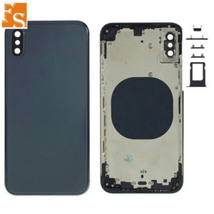 2020 New For iPhone X Back Battery Door Glass Full Housing Middle Frame Panel Cover with Logo Side Buttons SIM Tray Replacement DHL