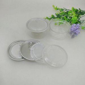 100ML 67 * 30mm وجرة PET البلاستيكية التي تحتوي على غطاء معدني الغذاء الحاويات عشب صندوق تخزين الأغذية الجرار شفافة الغذاء يختم زجاجة العلب ZZA2283