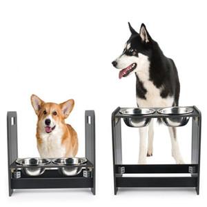 Yemekler Köpekler Besleme Hayvan Paslanmaz Çelik Gıda Suluk Pet Kediler için Ayarlanabilir Çift Köpek Çanaklar Çanak Yüksekliği Ayarlanabilir İçki