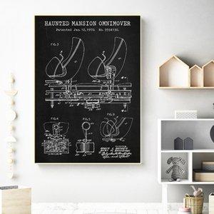 Imprimir diversões Passeio Patent Poster Vintage Haunted Mansion passeio Omnimover Blueprint Art Canvas Pintura Kids Room Wall Decor