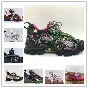Gucci Shoes FlashTrek Sapatos de designer com sapatas das mulheres Cristais removíveis Mens Sneaker desenhador de moda Casual Sneakers Tamanho 35-45 kmh01