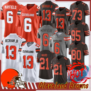 Cleveland 13 Odell Beckham Jr Brown Jersey 6 Baker Mayfield 80 Jarvis Landry 27 Kareem Hunt futebol Jerseys 21 Denzel Ward 73 Joe Thomas