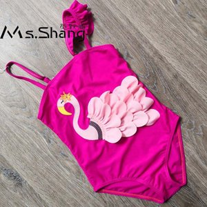 3D Swan Girls One Piece Swimsuit Cartoon Children Kids Swimwear Red Black Baby Girl Bathing Suit Ruffle Girl Swim Wear 3-8 Years
