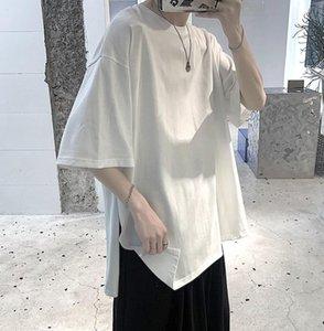 Summer Korean T Shirt Men's Fashion Solid Color Casual Cotton O-neck T-shirt Men Streetwear Loose Short-sleeved Tshirt Mens Tops