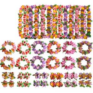 4pcsSet Fancy Dress Artificial Hawaiian Flower leis Garland Necklace Hawaii Beach Fun Flowers DIY Decor Other Festive & Party Supplies Festi