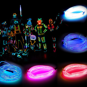 3M Luz de neón flexible Glow EL Wire Rope Tube Luz de neón flexible 8 colores Traje de fiesta de baile de coche + Controlador Luz de decoración de vacaciones de Navidad