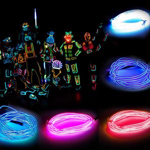 3m Flessibile al neon Glow Glow El Wire Rope Tubo Flessibile NEON Light 8 Colori Auto Dance Party Costume + Controller Christmas Holiday Decor Light