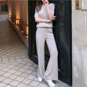 Damen schicke Kaschmir Hosen + Tops Langarm Pullover Strick Wide Leg Pants 2pcs