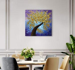 Brand New 100% peinture Arbre d'Or Fleur d'huile peinte à la main sur toile Accueil décorations Art moderne Peinture abstraite Non B3 Frame