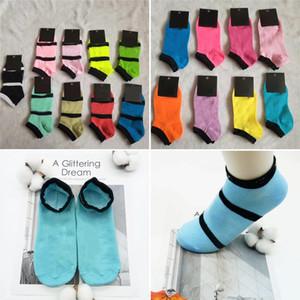 Розовый Черный Цвета носки Девушки Женщины моды отдых Спортивные носки Хлопок Открытый Черлидинг Чулки Multicolor с бирками