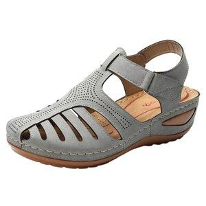 Women Shoes Ladies Sandals Girls Comfortable Ankle Hollow Round ToeSandalsSoft SoleFlat Belt Buckle Shoes Sandalia Feminina