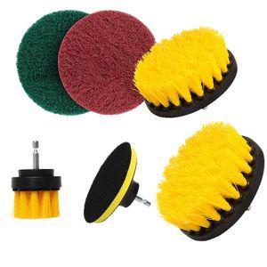 6Pcs / Set Электрической дрели кисть комплект пластиковой круглая щетки для чистки ковров для стекла автомобилей Шины Nylon Щетки Мощность скруббер Drill 35%