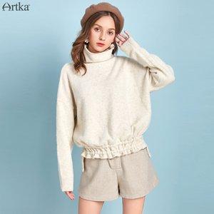 Artka otoño invierno 2019 nuevo de las mujeres suéter de lana multicolor flojo ocasional del cuello alto suéter de la cintura con cordón suéteres
