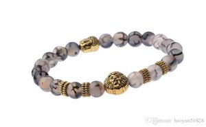 2018 New lion head Buddha beads natural agate bead bracelet
