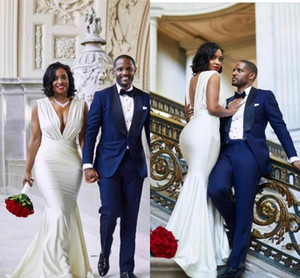 Сексуальная V-образная шея русалка Weddding Dreses без спинки свадебные платья простые свадебные платья Южноафриканский Vestidos de Novia Свадебные платья