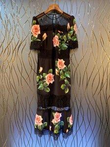 Le printemps et l'été 2020 en Europe et aux États-Unis de nouveaux vêtements pour femmes, feuilles royal vent vert imprimé robe brodée de dentelle