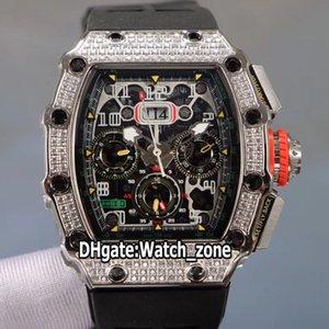 موعد جديد RM11-03RG الكبير فلايباك كرونو الأسود الهيكل العظمي الطلب التلقائي RM11-03 الرجال ووتش الصلب الماس الحافة الشريط المطاط الساعات Watch_Zone