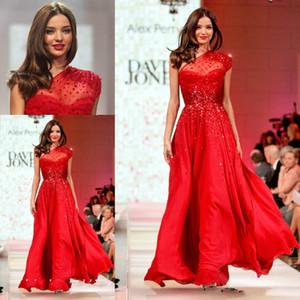 Moda Miranda Kerr Runway vestido de noite vermelho de um ombro Chiffon Longo Prom Dres Celebrity Dress Formal Festa Vestidos