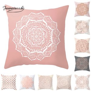 Fuwatacchi Rose Gold Geometric Cushion Cover Flower Decorative Pillows Cover for Home Sofa Bed Polyester Throw Pillowcases 45*45 Pillow Case