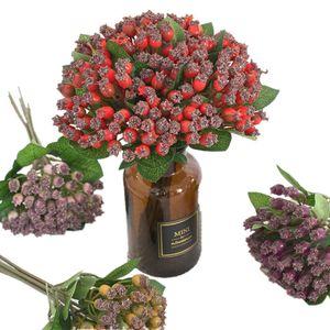 Bir Yapay nar Meyve Buket Sahte Ahududu Dallar Plastik dut Bitki tarihi Palm Tree Berry Fruit Stems