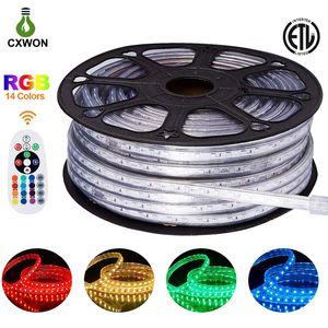 220V 110V Şerit LED Işık 150ft SMD2835 SMD5050 120leds / m LED Halat Işık IP65 Beyaz RGB Neon Dekorasyon Kapalı Mekan LED Strip Isınma