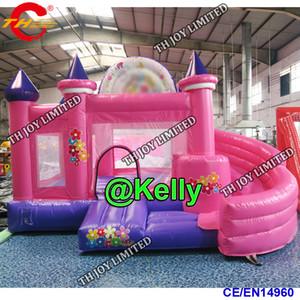 4,5x4m rosa aufblasbarer Prahler mit Rutsche billige aufblasbare Hüpfburg Rutsche aufblasbare Prahler Combo für Kinder