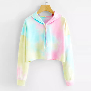 Felpe Multicolor Mulheres Casuais Cordão Moletom Com Capuz 2019 Outono Tie Dye cappuccio Longa BH4