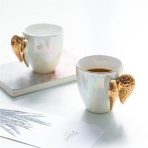 Plaqué Tasse en céramique blanche Creative or poignée Angel Wings Bureau Accueil Café Lait Tasses en porcelaine Couple cadeau Décoration SH190925