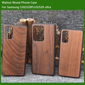 Für Samsung Galaxy S20 / S20 plus Holzkasten + TPU Heißer Verkauf S20 ultra echte Bambus-Handy-Stoßfänger Soft Back-Cover für iPhone 11 Zubehör