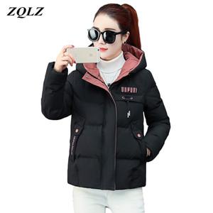 ZQLZ 2020 nueva chaqueta de invierno de las mujeres abajo de algodón delgado abrigo corto Femlae para mujer Negro ocasional de la capa con capucha de la letra