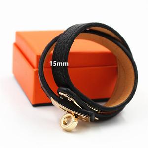 Nuovo stile 15mm doppio bracciali in pelle metallo oro amore braccialiBangles per le donne h marca braccialetto avvolgente dichiarazione gioielli Pulseira YX027