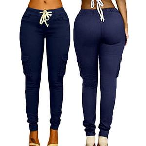 Calças multi-saco das mulheres Com Cordão Gravata Calças Casuais Verão Moda Tendência Cor Sólida Doce Cintura Alta Calças Femininas L548