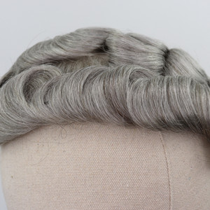 Brown Mixed Grey Human Hair Toupee for Men #5 80% Gray Remy Hair Replacement System Curly Skin Men's Toupee new