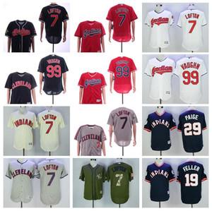 1995 1976 2016 Vintage Beyzbol 7 Kenny Lofton Jersey 19 Bob Feller 29 Satchel Paige 99 Rick Vaughn Kazak Bankası Flexbase Soğuk emekli