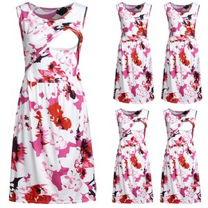 Maternity Summer Dresses Women Breastfeeding Floral Print Sleeveless Dress Photography Props Ropa Premama Plus Size Clothing