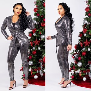 2019 Spring Stunning Silver Sequins Fabric Women Casual Outfits Long Sleeves V Neck Sash Fashion Top and Long Pants Two Pieces Suits