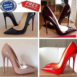 Estilos frete grátis Então Kate 8 centímetros 10cm 12cm sapatos de salto alto vermelho inferior Nude Cor Gelor Couro Ponto Toe Bombas de borracha sapatos de casamento
