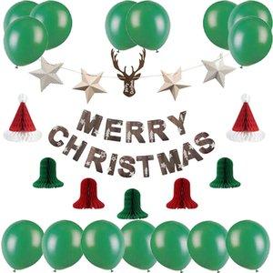 Noel Kiti Noel Çan Santa Şapka Merry Christmas Yıldız Afiş Lateks Balonlar Malzemeleri Navidad Yeni Yıl 2020